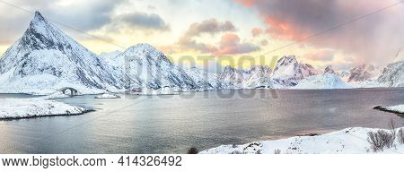 Picturesque Morning View Of Torsfjorden Fjord With Fredvang Cantilever Bridge And Volandstinden Peak