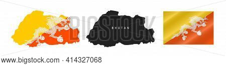 Bhutan. Map With Masked Flag. Detailed Silhouette. Waving Flag. Vector Illustration Isolated On Whit
