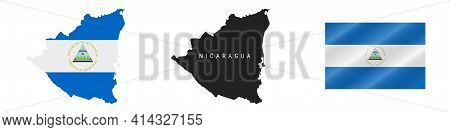 Nicaragua. Map With Masked Flag. Detailed Silhouette. Waving Flag. Vector Illustration Isolated On W
