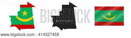 Mauritania. Map With Masked Flag. Detailed Silhouette. Waving Flag. Vector Illustration Isolated On