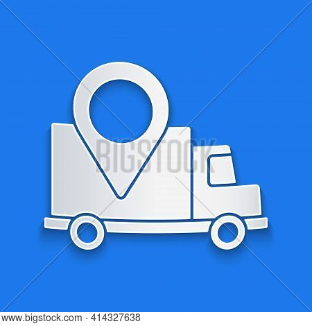 Paper Cut Delivery Tracking Icon Isolated On Blue Background. Parcel Tracking. Paper Art Style. Vect