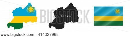 Rwanda. Map With Masked Flag. Detailed Silhouette. Waving Flag. Vector Illustration Isolated On Whit