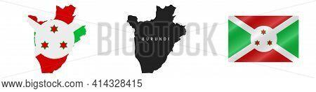 Burundi. Map With Masked Flag. Detailed Silhouette. Waving Flag. Vector Illustration Isolated On Whi