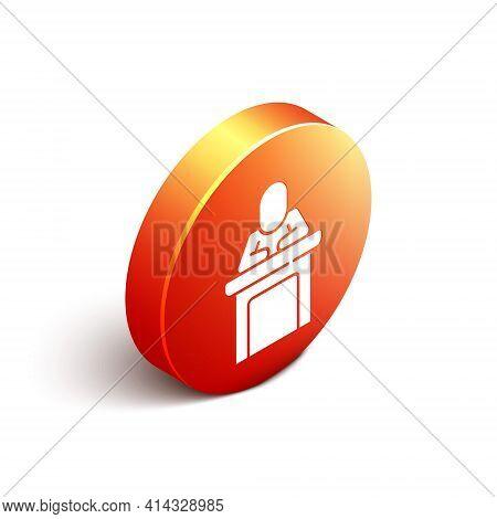 Isometric Speaker Icon Isolated On White Background. Orator Speaking From Tribune. Public Speech. Pe