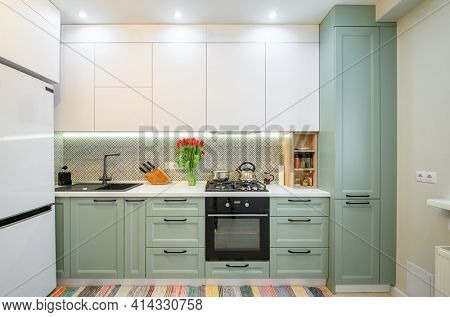 Front view of well designed green-teal and white modern kitchen interior