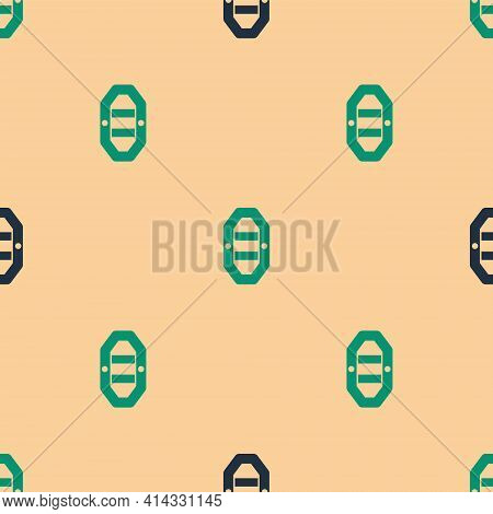 Green And Black Rafting Boat Icon Isolated Seamless Pattern On Beige Background. Inflatable Boat Wit