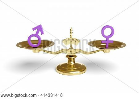 Male And Female Signs On A Balance Scale Isolated On White Background.