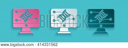 Paper Cut Genetic Engineering Modification On Monitor Icon Isolated On Blue Background. Dna Analysis