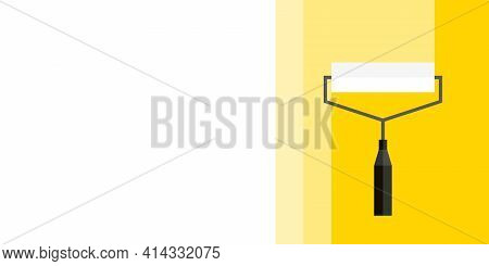 Abstract Background. Banner For Advertising. White Painting Roller Yellow Background. Vector Illustr