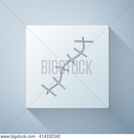 Paper Cut Scar With Suture Icon Isolated On Grey Background. Paper Art Style. Vector