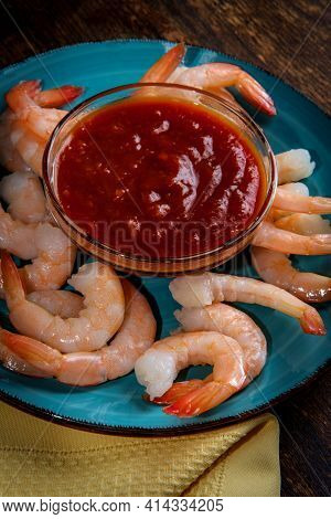Delightful Tail-on Shrimp Cocktail Served With Horseradish Dipping Sauce