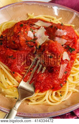 Italian Spaghetti And Meatballs With Red Tomato Sauce