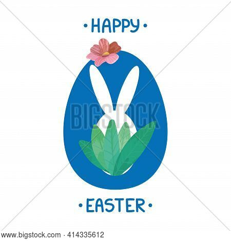 Happy Easter Lettering Card. Simple Easter Greeting Card With Rabbit And Handwritten Text.