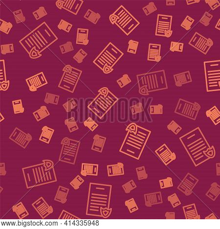 Brown Line Firearms License Certificate Icon Isolated Seamless Pattern On Red Background. Weapon Per