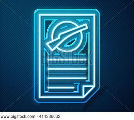 Glowing Neon Line Firearms License Certificate Icon Isolated On Blue Background. Weapon Permit. Vect