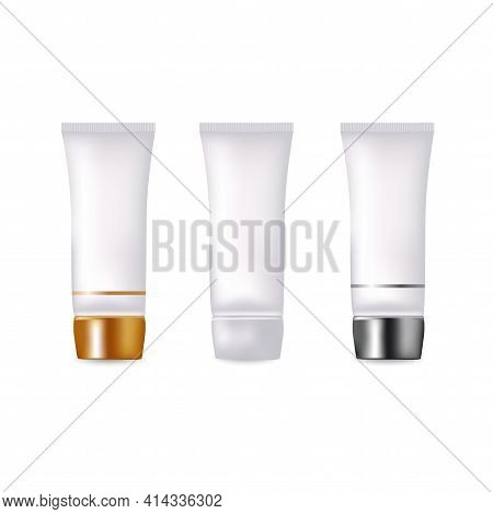 Set Of Realistic Empty Package For Luxury Cosmetic Product. Bottle For Liquid, Skin Care Cream.