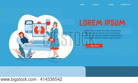 Kidney Failure, Pyelonephritis And Other Kidney Diseases Treatment Website Banner. Kidney Health Cli