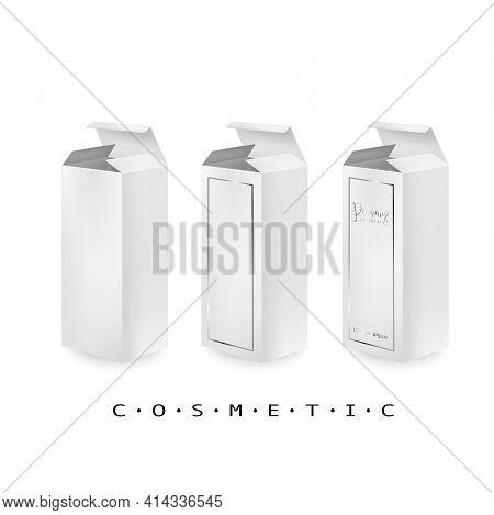 High White Cardboard Box Mockup. Set Of Realistic Vertical Tall Cardboard Rectangular Cosmetic Or Me