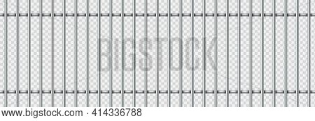 Realistic Prison Metal Bars Isolated On Transparent Background. Iron Jail Cage. Prison Fence Jail. T
