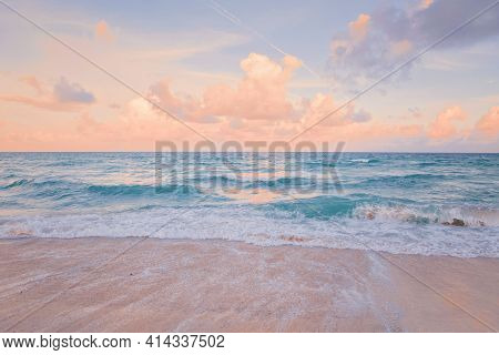 Sea Ocean Beach Sunset Sunrise Landscape Outdoors. Water Wave With White Foam. Beautiful Sunset Airy