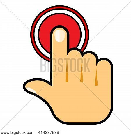 Hand Push Start Button. Press The Button. Touch Icon Concept. Vector