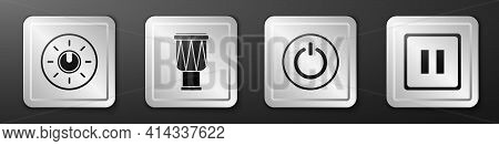 Set Dial Knob Level Technology Settings, Drum, Power Button And Pause Button Icon. Silver Square But