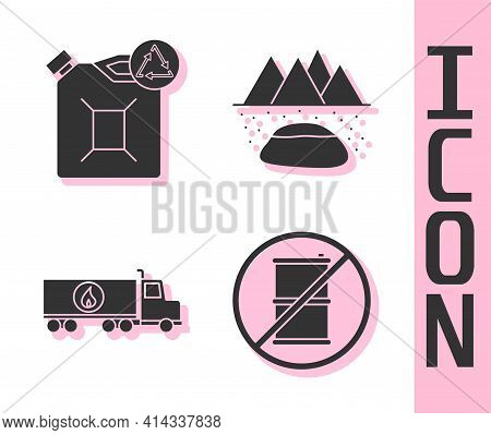 Set No Barrel For Gasoline, Eco Fuel Canister, Tanker Truck And Oilfield Icon. Vector