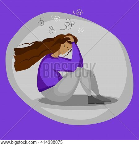 Illustration: A Woman Is Upset, Sad, Has Bad Thoughts, And Has A Headache. The Image Is Made In A Ve