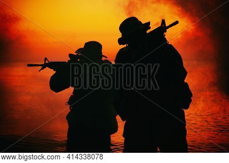 Commando Soldiers Walking In Water, Army Special Operations Forces Fighters Sneaking In Darkness, Ai