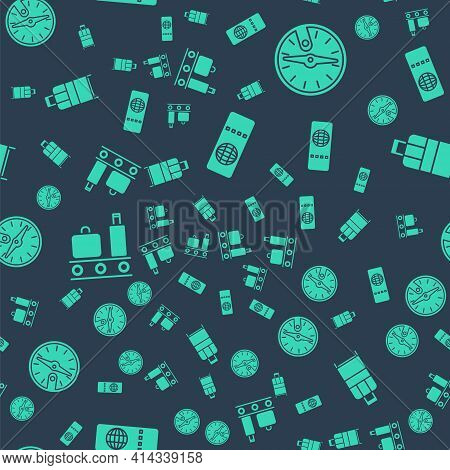 Set Airline Ticket, Compass, Airport Conveyor Belt With Suitcase And Suitcase On Seamless Pattern. V
