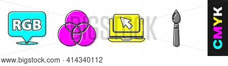 Set Speech Bubble With Rgb And Cmyk, Rgb And Cmyk Color Mixing, Laptop And Cursor And Paint Brush Ic