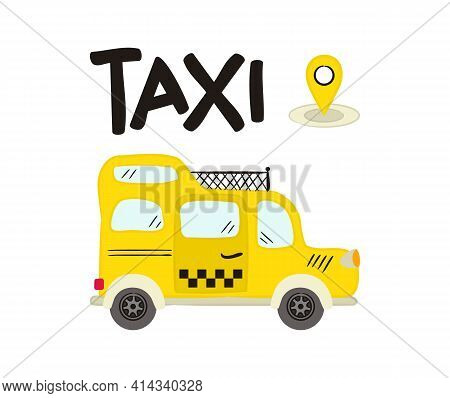 Hand Drawn Yellow Taxi With Roof Rack. Cab Isolated On White Background. Doodle Vector Illustration