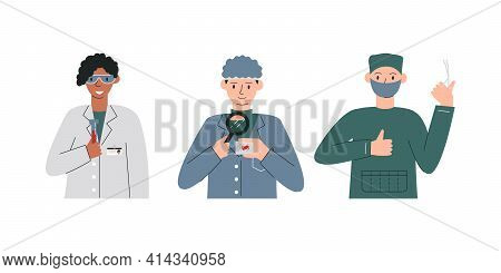 Different Specializations Doctors Isolated. Hematologist Holding Blood Test Tube, Infectious Disease