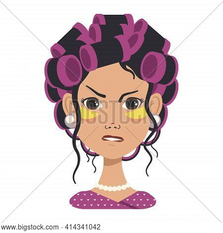 Girl With Pink Curlers And Yellow Patches