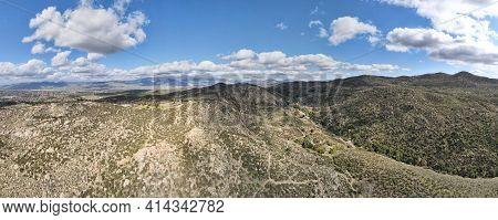 Aerial Panoramic Vie Of Simpson Park Wilderness Valley In Santa Rosa Hills. Hemet, California. Usa