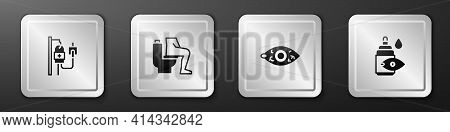 Set Iv Bag, Constipation, Reddish Eye And Eye Drop Bottle Icon. Silver Square Button. Vector