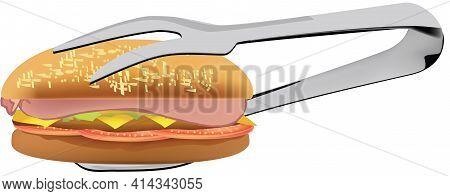 Burger Taken With Fork Burger Taken With Fork
