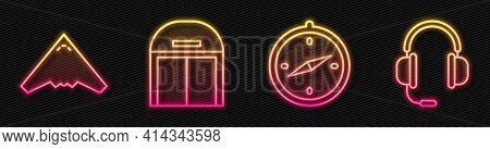 Set Line Compass, Jet Fighter, Aircraft Hangar And Headphones With Microphone. Glowing Neon Icon. Ve