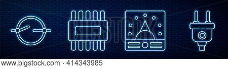 Set Line Ampere Meter, Multimeter, Voltmeter, Electric Circuit Scheme, Processor With Microcircuits