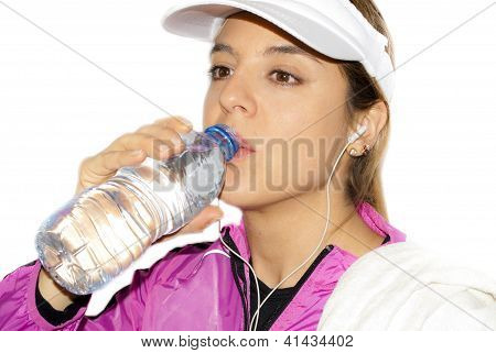 Sports Girl Drinking Water