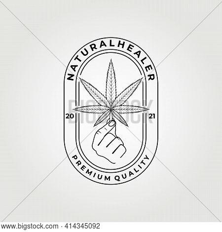 Natural Healer, Cannabis Logo Vector Illustration Design Graphic, Line Art Logo , Minimalist Concept