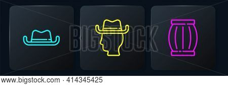 Set Line Western Cowboy Hat, Gun Powder Barrel And Cowboy. Black Square Button. Vector