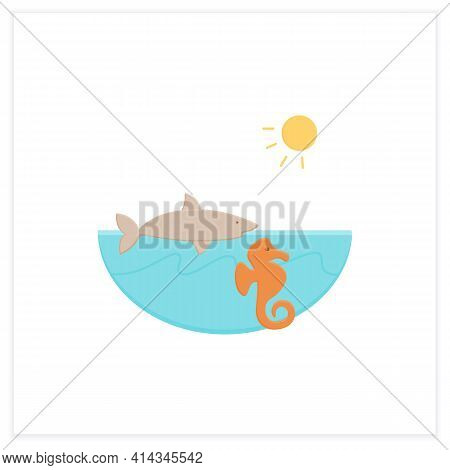 Marine Flat Icon. Made Up Of The Saltwater Oceans. Living Place For Shark, Seahorse Etc. Underwater