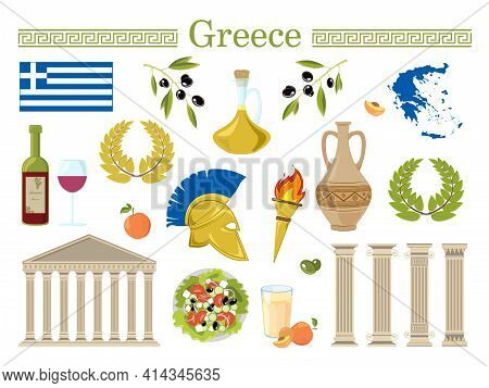 Welcome To Greece Travel Collection. Set Of Greece S Symbols. Travel Illustration With Greek Landmar