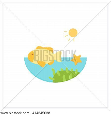 Coral Reef Flat Icon. Underwater Ecosystem Characterized By Reef-building Corals. Living Place For S