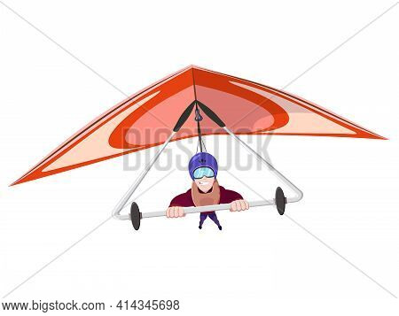 Cheerful Hang Gliding Tandem Flying In Sky. Extreme Outdoors Sport Activity, Sky Diving Sportsman Fl
