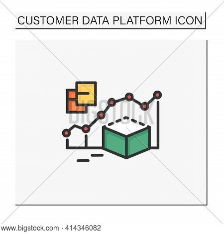 Predictive Modeling Color Icon. Process That Uses Data And Statistics To Predict Outcomes With Data