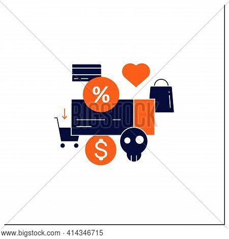 Dependence On Discounts Glyph Icon. Sales. Discounts Love. Mindful Spending Concept.filled Flat Sign