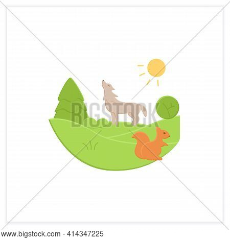 Temperate Forest Flat Icon.forest Found Between Tropical, Boreal Regions, Located In Temperate Zone.