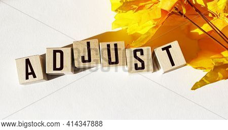 Adjust Word Written On Wooden Block And White Background With Yellow Foliage